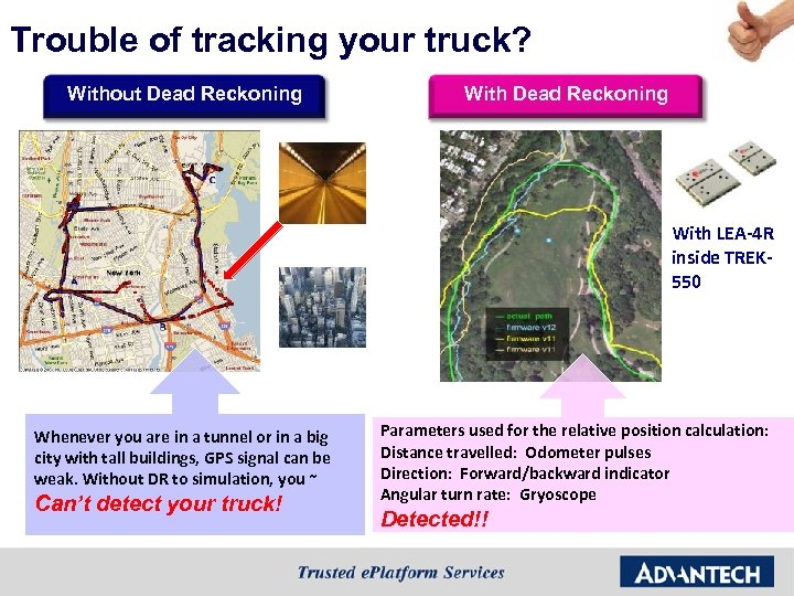 Trouble of tracking your truck? Without Dead Reckoning With LEA-4 R inside TREK 550