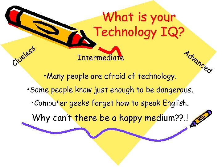What is your Technology IQ? ss e el u Cl Intermediate • Many people