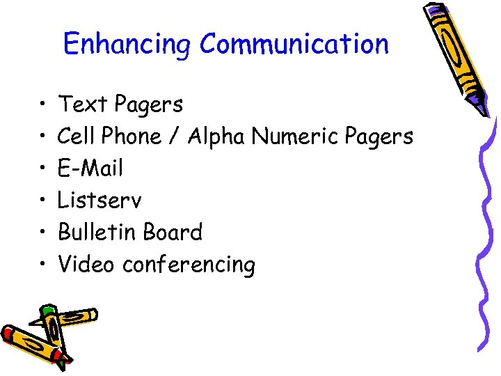 Enhancing Communication • • • Text Pagers Cell Phone / Alpha Numeric Pagers E-Mail