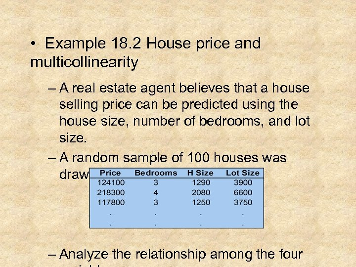 • Example 18. 2 House price and multicollinearity – A real estate agent