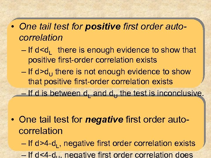 • One tail test for positive first order autocorrelation – If d<d. L