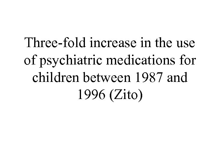 Three-fold increase in the use of psychiatric medications for children between 1987 and 1996