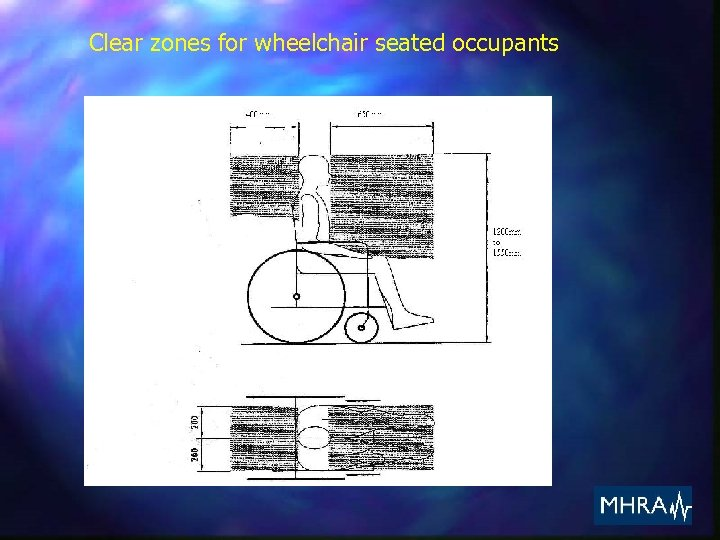 Clear zones for wheelchair seated occupants