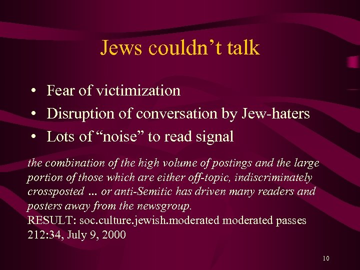 Jews couldn't talk • Fear of victimization • Disruption of conversation by Jew-haters •