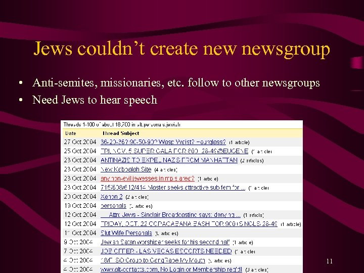 Jews couldn't create newsgroup • Anti-semites, missionaries, etc. follow to other newsgroups • Need