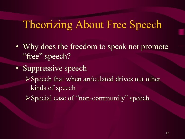 "Theorizing About Free Speech • Why does the freedom to speak not promote ""free"""
