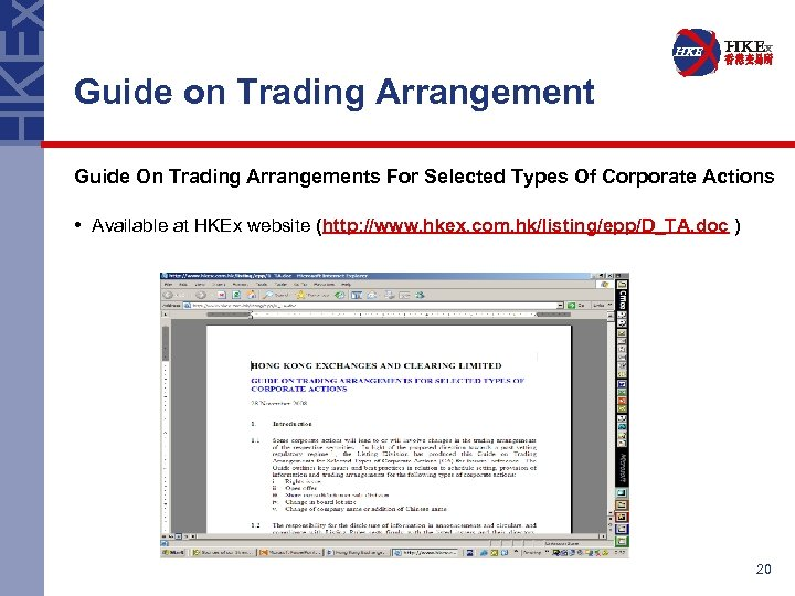 Guide on Trading Arrangement Guide On Trading Arrangements For Selected Types Of Corporate Actions