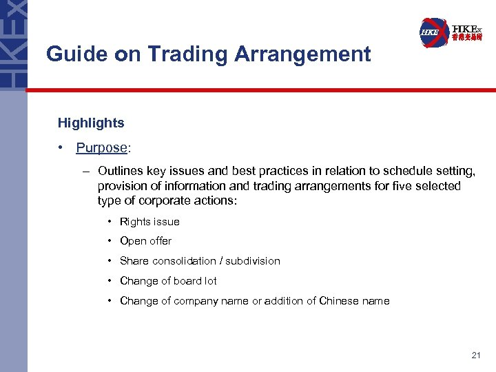 Guide on Trading Arrangement Highlights • Purpose: – Outlines key issues and best practices