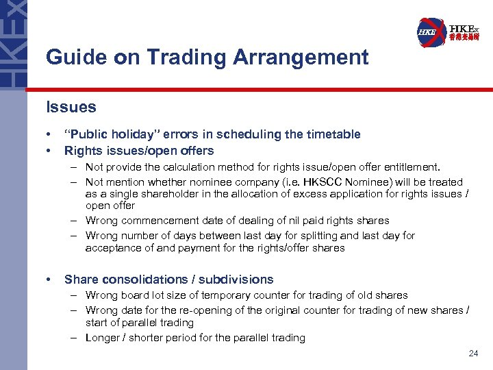 """Guide on Trading Arrangement Issues • • """"Public holiday"""" errors in scheduling the timetable"""