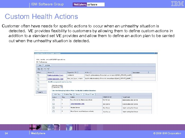 IBM Software Group Custom Health Actions Customer often have needs for specific actions to