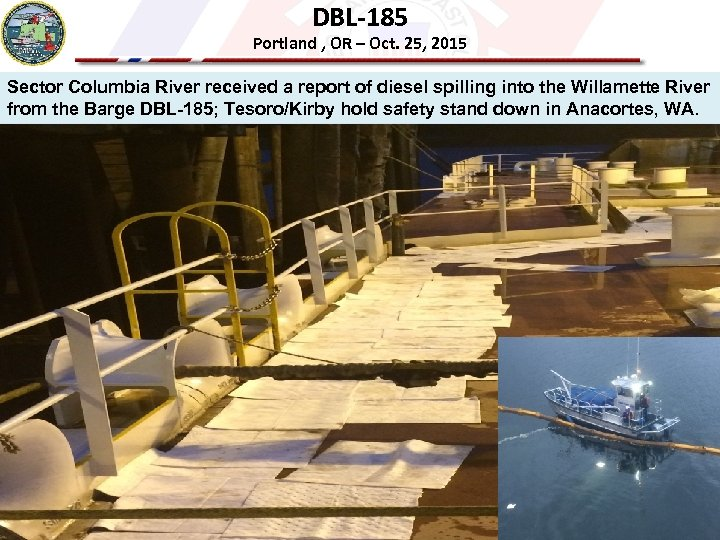 DBL-185 Portland , OR – Oct. 25, 2015 Sector Columbia River received a report
