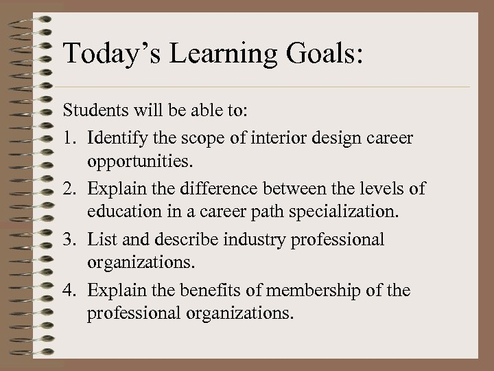 Today's Learning Goals: Students will be able to: 1. Identify the scope of interior