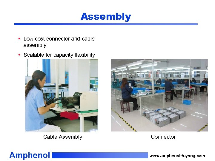 Assembly • Low cost connector and cable assembly • Scalable for capacity flexibility Cable