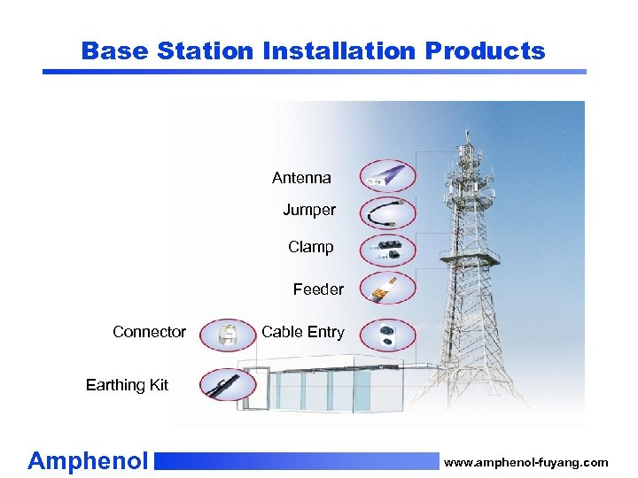 Base Station Installation Products Antenna Jumper Clamp Feeder Connector Cable Entry Earthing Kit Amphenol