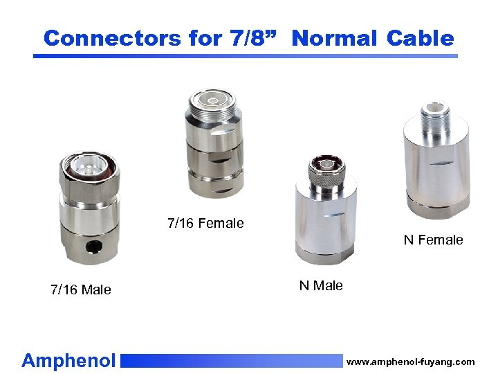 """Connectors for 7/8"""" Normal Cable 7/16 Female N Female 7/16 Male Amphenol N Male"""