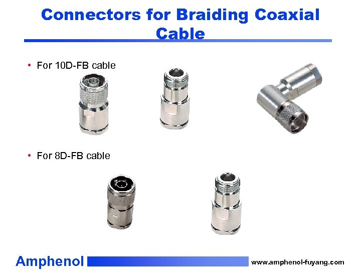 Connectors for Braiding Coaxial Cable • For 10 D-FB cable • For 8 D-FB