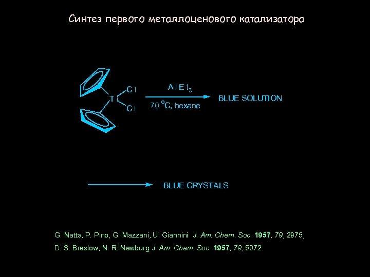 Синтез первого металлоценового катализатора A l E t 3 Cl Ti Cl o 70