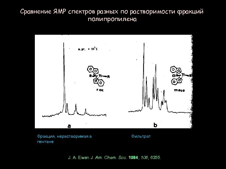 Сравнение ЯМР спектров разных по растворимости фракций полипропилена Фракция, нерастворимая в пентане Фильтрат J.