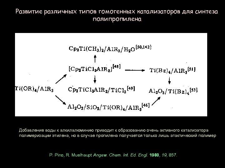 Развитие различных типов гомогенных катализаторов для синтеза полипропилена Добавление воды к алкилалюминию приводит к
