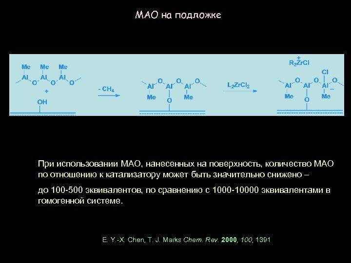 MAO на подложке При использовании MAO, нанесенных на поверхность, количество MAO по отношению к