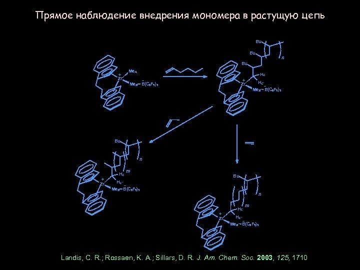 Прямое наблюдение внедрения мономера в растущую цепь Bu Bu n Bu Me. A +