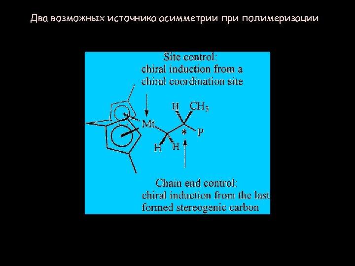 Два возможных источника асимметрии при полимеризации