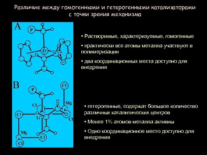 Различие между гомогенными и гетерогенными катализаторами с точки зрения механизма • Растворимые, характеризуемые, гомогенные