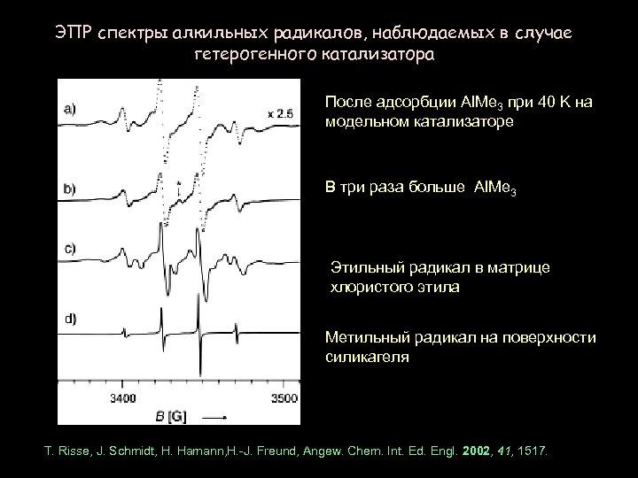 ЭПР спектры алкильных радикалов, наблюдаемых в случае гетерогенного катализатора После адсорбции Al. Me 3