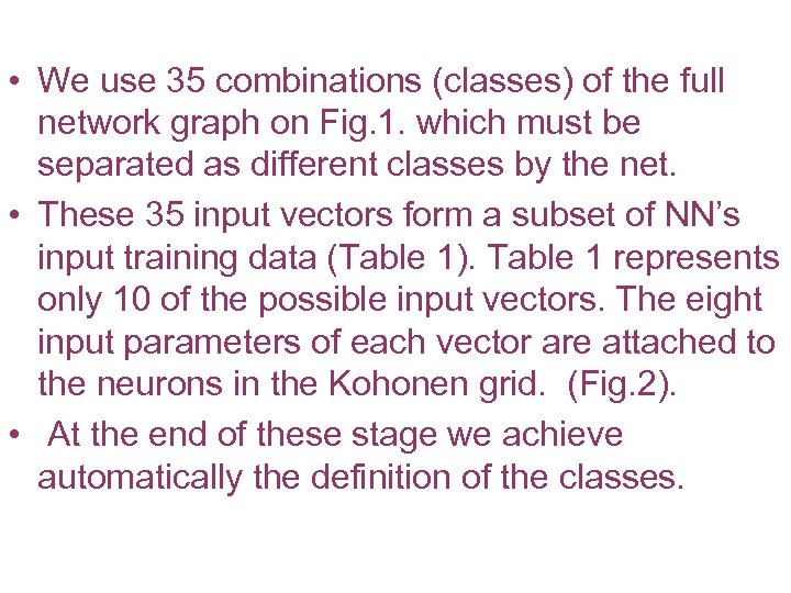 • We use 35 combinations (classes) of the full network graph on Fig.