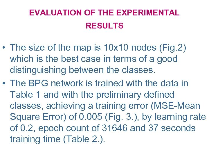 EVALUATION OF THE EXPERIMENTAL RESULTS • The size of the map is 10 x
