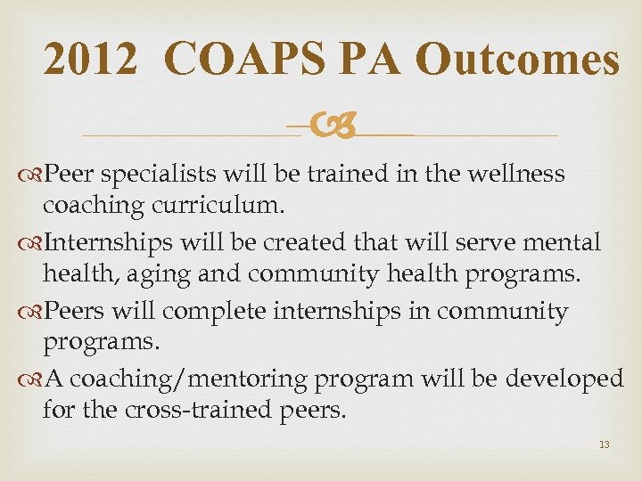2012 COAPS PA Outcomes – Peer specialists will be trained in the wellness coaching
