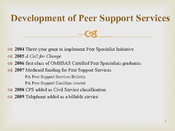 Development of Peer Support Services – 2004 Three-year grant to implement Peer Specialist Initiative