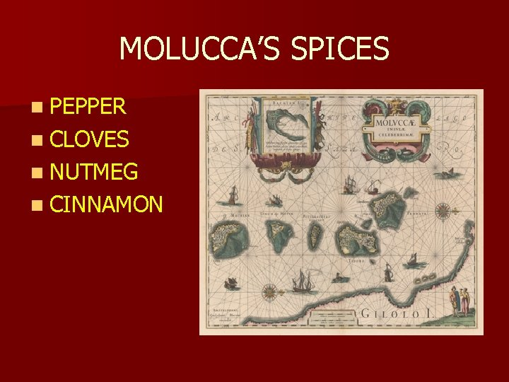MOLUCCA'S SPICES n PEPPER n CLOVES n NUTMEG n CINNAMON