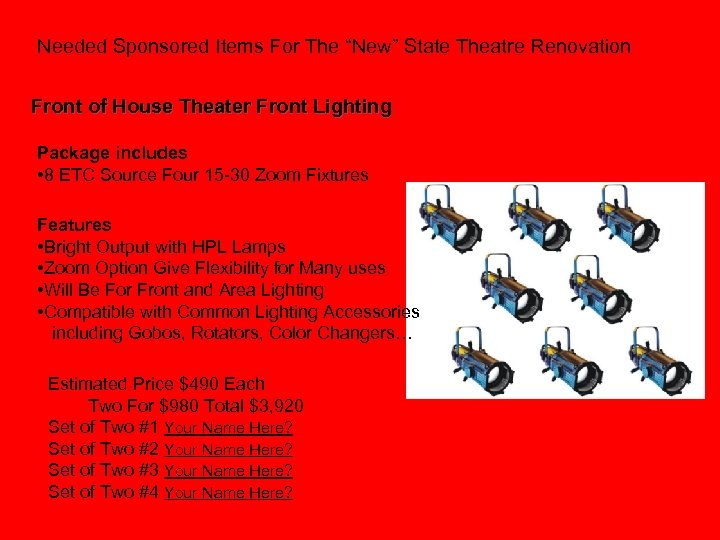 """Needed Sponsored Items For The """"New"""" State Theatre Renovation Front of House Theater Front"""