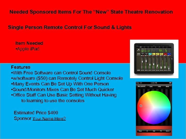 """Needed Sponsored Items For The """"New"""" State Theatre Renovation Single Person Remote Control For"""