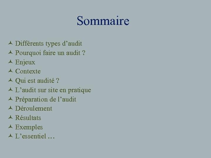 Sommaire © Différents types d'audit © Pourquoi faire un audit ? © Enjeux ©