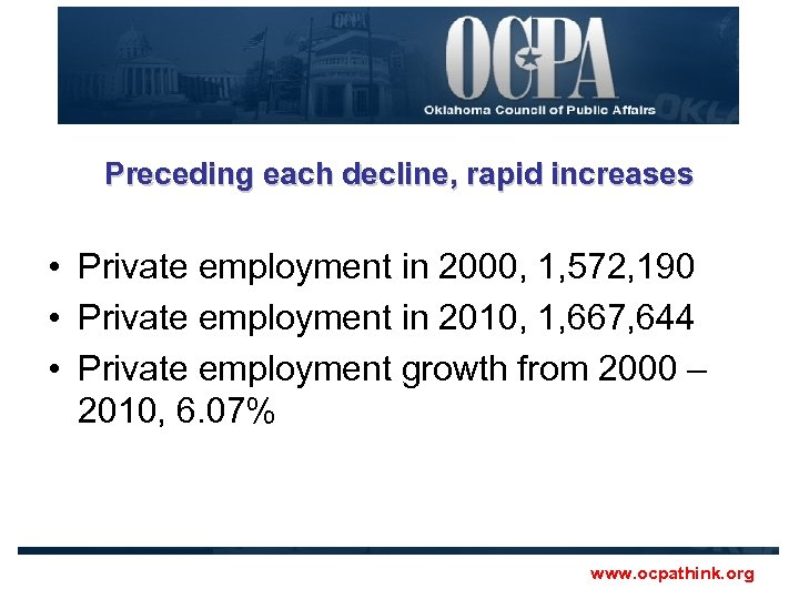 Preceding each decline, rapid increases • Private employment in 2000, 1, 572, 190 •