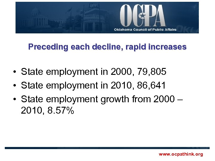 Preceding each decline, rapid increases • State employment in 2000, 79, 805 • State