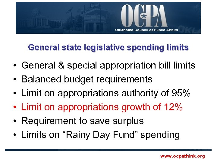 General state legislative spending limits • • • General & special appropriation bill limits
