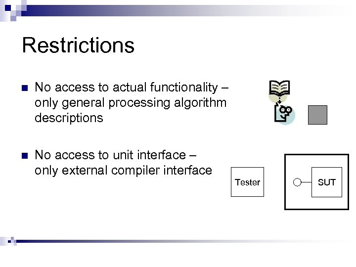 Restrictions n No access to actual functionality – only general processing algorithm descriptions n