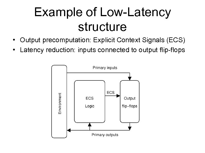 Example of Low-Latency structure • Output precomputation: Explicit Context Signals (ECS) • Latency reduction: