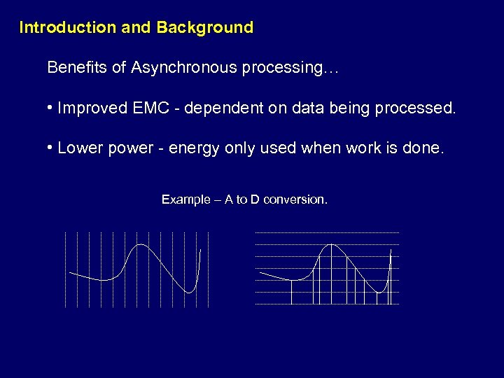 Introduction and Background Benefits of Asynchronous processing… • Improved EMC - dependent on data