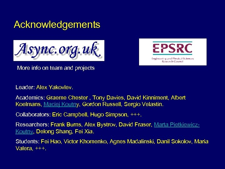 Acknowledgements More info on team and projects Leader: Alex Yakovlev. Academics: Graeme Chester ,