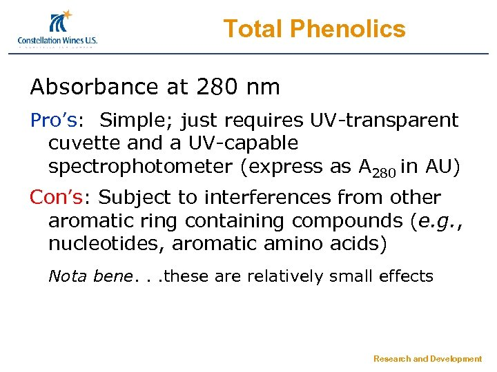 Total Phenolics Absorbance at 280 nm Pro's: Simple; just requires UV-transparent cuvette and a