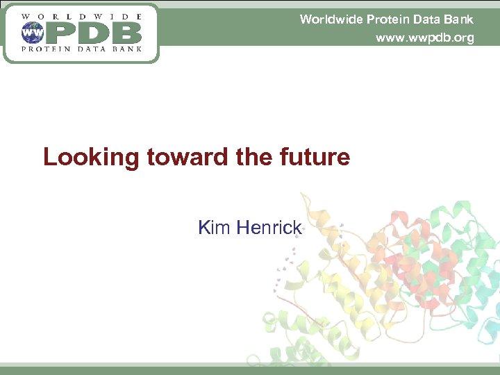 Worldwide Protein Data Bank www. wwpdb. org Looking toward the future Kim Henrick