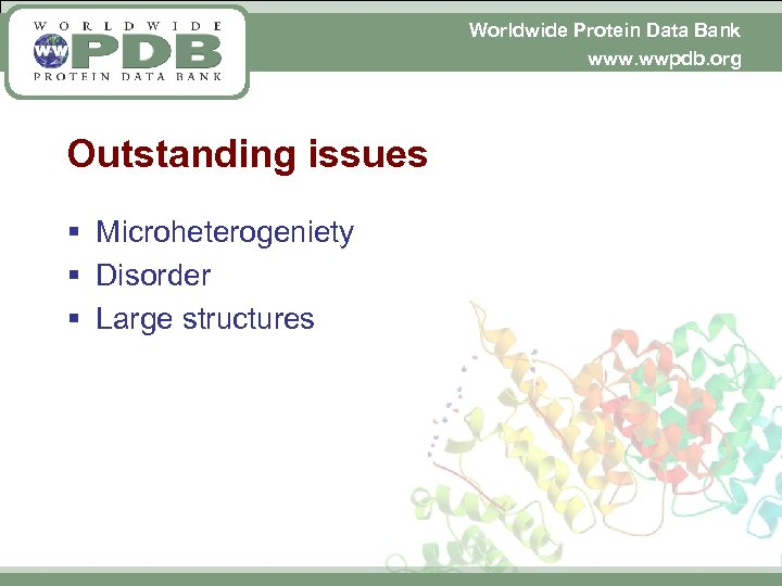 Worldwide Protein Data Bank www. wwpdb. org Outstanding issues § Microheterogeniety § Disorder §