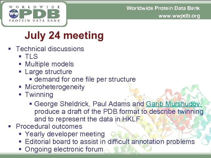 Worldwide Protein Data Bank www. wwpdb. org July 24 meeting § Technical discussions §