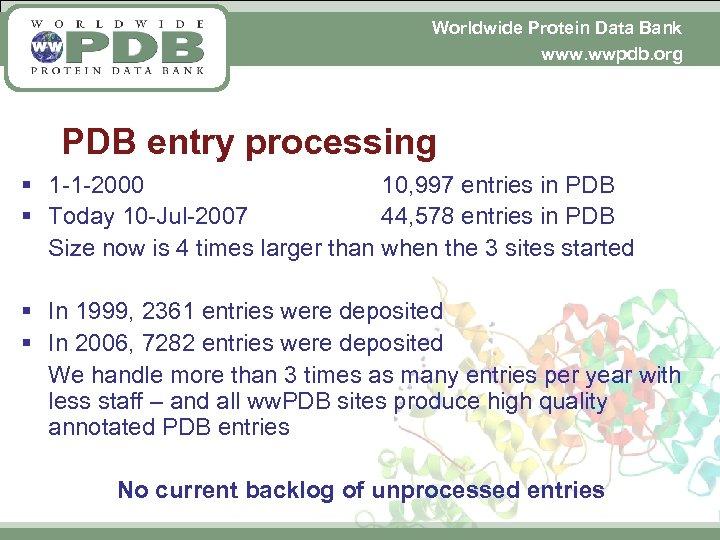 Worldwide Protein Data Bank www. wwpdb. org PDB entry processing § 1 -1 -2000