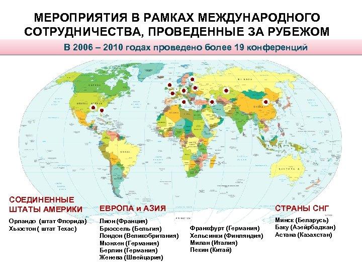 МЕРОПРИЯТИЯ В РАМКАХ МЕЖДУНАРОДНОГО СОТРУДНИЧЕСТВА, ПРОВЕДЕННЫЕ ЗА РУБЕЖОМ В 2006 – 2010 годах проведено