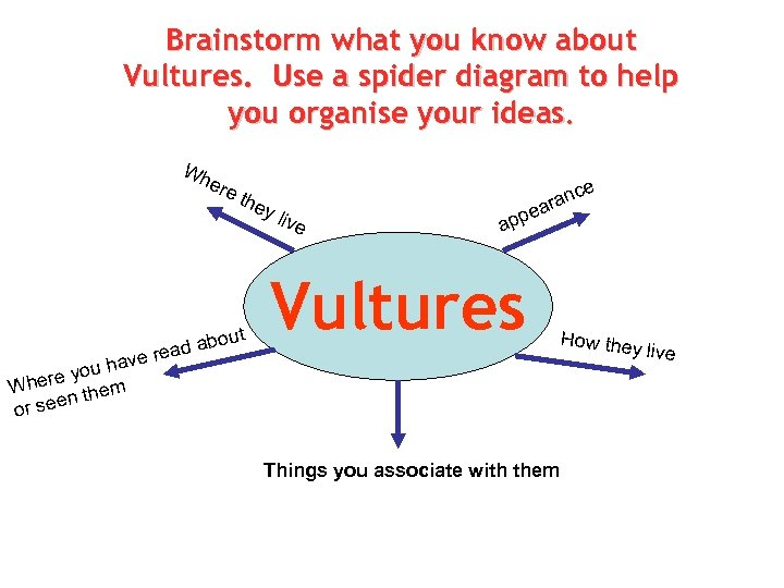 Brainstorm what you know about Vultures. Use a spider diagram to help you organise